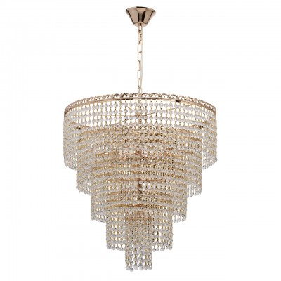 Светильник De Markt 351018510подвесные хрустальные люстры<br><br><br>S освещ. до, м2: 20<br>Тип лампы: накаливания / энергосбережения / LED-светодиодная<br>Тип цоколя: E14<br>Цвет арматуры: золотой<br>Количество ламп: 10<br>Диаметр, мм мм: 520<br>Высота, мм: 900<br>MAX мощность ламп, Вт: 40