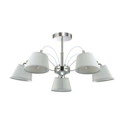 Люстра потолочная Lumion 3518/5 VASANAсовременные потолочные люстры модерн<br>Светильник коллекции Vasana идеально подойдет для тех, кто любит яркие интерьеры, но при этом не любит лишних деталей. Основание светильника выполнено в цвете хром, абажуры из ткани, с глянцевой поверхностью внутри. Светильник создаст прекрасное освещение в интерьере стиля модерн или минимализм<br><br>S освещ. до, м2: 10<br>Тип лампы: Накаливания / энергосбережения / светодиодная<br>Тип цоколя: E27<br>Количество ламп: 5<br>Диаметр, мм мм: 600<br>Высота, мм: 330<br>Оттенок (цвет): серебристный хром<br>MAX мощность ламп, Вт: 40