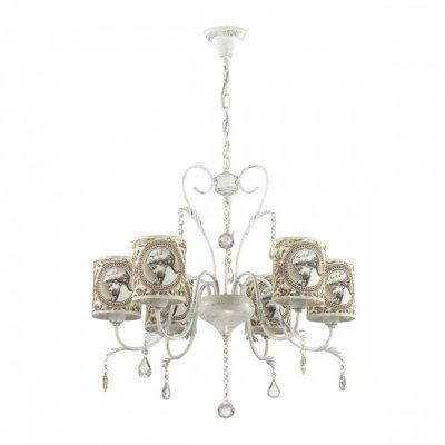 Светильник Lumion 3533/6Ожидается<br>Создать атмосферу легкости и романтики поможет серия Aromatrevi, выполненная в классическом стиле, с арматурой цвета белое золото с золотой патиной и абажуром с нежным теплым оттенком и романтичным рисунком<br><br>Тип цоколя: E14<br>Количество ламп: 6<br>Ширина, мм: 650<br>MAX мощность ламп, Вт: 60<br>Длина цепи/провода, мм: 430<br>Длина, мм: 650<br>Высота, мм: 670<br>Оттенок (цвет): белый / зол.патина