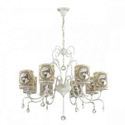 Светильник Lumion 3533/8Ожидается<br>Создать атмосферу легкости и романтики поможет серия Aromatrevi, выполненная в классическом стиле, с арматурой цвета белое золото с золотой патиной и абажуром с нежным теплым оттенком и романтичным рисунком<br><br>Тип цоколя: E14<br>Количество ламп: 8<br>Ширина, мм: 750<br>MAX мощность ламп, Вт: 60<br>Длина цепи/провода, мм: 430<br>Длина, мм: 750<br>Высота, мм: 670<br>Оттенок (цвет): белый / зол.патина