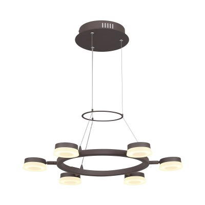 Подвесной светильник Odeon light 3537/6LA WENGELINAподвесные люстры хай тек<br><br><br>Установка на натяжной потолок: Да<br>Крепление: Планка<br>Цветовая t, К: 3000K<br>Тип лампы: LED - светодиодная<br>Тип цоколя: LED, встроенные светодиоды<br>Цвет арматуры: коричневый<br>Количество ламп: 6<br>Ширина, мм: 605<br>Длина, мм: 605<br>Высота, мм: 1200<br>Поверхность арматуры: матовая<br>Оттенок (цвет): коричневый<br>MAX мощность ламп, Вт: 6