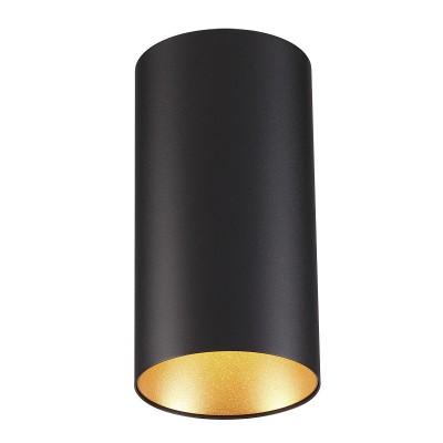 Потолочный накладной светильник Odeon light 3555/1C PRODYкруглые светильники<br><br><br>Тип лампы: галогенная/LED - светодиодная<br>Тип цоколя: GU10<br>Цвет арматуры: черный<br>Количество ламп: 1<br>Ширина, мм: 110<br>Длина, мм: 110<br>Высота, мм: 210<br>Поверхность арматуры: матовая<br>Оттенок (цвет): черный с золотом<br>MAX мощность ламп, Вт: 50