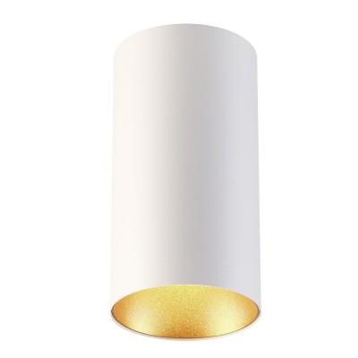 Потолочный накладной светильник Odeon light 3556/1C PRODYкруглые светильники<br><br><br>Тип цоколя: GU10<br>Цвет арматуры: белый<br>Количество ламп: 1<br>Ширина, мм: 110<br>Длина, мм: 110<br>Высота, мм: 210<br>Поверхность арматуры: матовая<br>Оттенок (цвет): белый с золотом<br>MAX мощность ламп, Вт: 50
