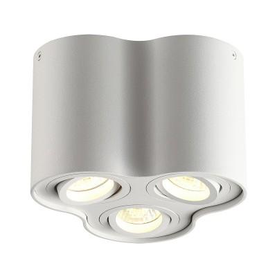 Потолочный накладной светильник Odeon light 3564/3C PILLARONдекоративные светильники<br><br><br>Тип лампы: галогенная/LED - светодиодная<br>Тип цоколя: GU10<br>Цвет арматуры: белый<br>Количество ламп: 3<br>Ширина, мм: 183<br>Длина, мм: 170<br>Высота, мм: 125<br>Поверхность арматуры: матовая<br>Оттенок (цвет): белый<br>MAX мощность ламп, Вт: 50