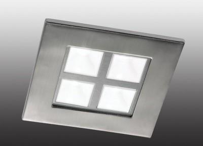 Novotech BOX 357059 Встраиваемый светильникКвадратные LED<br>Встраиваемые светильники – популярное осветительное оборудование, которое можно использовать в качестве основного источника или в дополнение к люстре. Они позволяют создать нужную атмосферу атмосферу и привнести в интерьер уют и комфорт.   Интернет-магазин «Светодом» предлагает стильный встраиваемый светильник Novotech 357059. Данная модель достаточно универсальна, поэтому подойдет практически под любой интерьер. Перед покупкой не забудьте ознакомиться с техническими параметрами, чтобы узнать тип цоколя, площадь освещения и другие важные характеристики.   Приобрести встраиваемый светильник Novotech 357059 в нашем онлайн-магазине Вы можете либо с помощью «Корзины», либо по контактным номерам. Мы развозим заказы по Москве, Екатеринбургу и остальным российским городам.<br><br>S освещ. до, м2: 3<br>Цветовая t, К: 4100<br>Тип лампы: галогенная<br>Тип цоколя: G4<br>Количество ламп: 4<br>Ширина, мм: 105<br>MAX мощность ламп, Вт: 4<br>Диаметр врезного отверстия, мм: 90<br>Длина, мм: 105<br>Высота, мм: 63.5<br>Цвет арматуры: серебристый