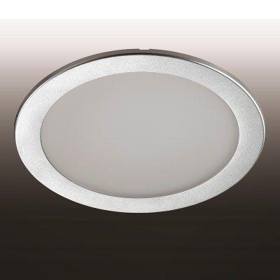 Светильник Novotech 357182Круглые LED<br><br><br>Тип товара: Встраиваемый светильник<br>Цветовая t, К: 3000<br>Тип лампы: LED<br>MAX мощность ламп, Вт: 24<br>Диаметр, мм мм: 240<br>Диаметр врезного отверстия, мм: 205<br>Высота, мм: 10<br>Цвет арматуры: серебристый