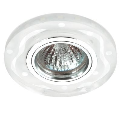 Novotech RIVA 357313 Светильник встраиваемыйКруглые<br>Встраиваемый светильник со светодиодной подсветкой и встроенным драйвером модели Novotech 357313 из серии RIVA отличается следующим качеством: Декоративное украшение произведено из хрусталя. Хрусталь обладает высоким показателем плотности, прозрачности и блеска. Благодаря содержанию свинца (не менее 30%). Хрусталь обладает высоким показателем плотности, прозрачности и блеска. Благодаря содержанию свинца (не менее 30%) и определённому подбору углов, образуемых гранями, изделия из хрусталя отличаются необыкновенно яркой, многоцветной игрой света, чарующей магией красоты, совершенства и роскоши. Имееется возможность раздельного включения LED и лампы, при использовании двухклавишного выключателя света.<br><br>Тип лампы: галогенная/LED<br>Тип цоколя: GX5.3<br>MAX мощность ламп, Вт: 50<br>Диаметр, мм мм: 95<br>Диаметр врезного отверстия, мм: 60<br>Высота, мм: 25<br>Цвет арматуры: серебристый