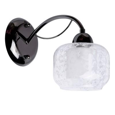 Светильник настенный бра Mw light 358029301 ГрацияСовременные<br>Описание модели 358029301: Легкое, изысканное, без лишних деталей бра из коллекции «Грация» оправдывает своё название – оно действительно по-настоящему грациозно.  Металлическое основание цвета никеля, рожок плавно изогнут и переходят в оригинальный двойной плафон. Внешний плафон выполнен из прозрачного стекла округлой прямоугольной формы и  декорирован растительным трафаретным рисунком белого цвета, который придает композиции особую живописность.  Внутренний матовый плафон декорирует патрон светильника и создает мягкое распределение светового потока. Рекомендуемая площадь освещения порядка 3 кв.м.<br><br>S освещ. до, м2: 3<br>Тип лампы: Накаливания / энергосбережения / светодиодная<br>Тип цоколя: E14<br>Количество ламп: 1<br>Ширина, мм: 230<br>MAX мощность ламп, Вт: 60<br>Длина, мм: 130<br>Высота, мм: 230<br>Цвет арматуры: черный<br>Общая мощность, Вт: 60