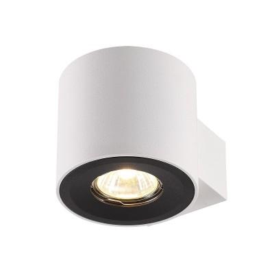 Настенный светильник Odeon light 3581/1W LACUNAБра хай тек стиля<br><br><br>Тип лампы: галогенная/LED - светодиодная<br>Тип цоколя: GU10<br>Цвет арматуры: белый<br>Количество ламп: 1<br>Ширина, мм: 100<br>Длина, мм: 129<br>Высота, мм: 90<br>Поверхность арматуры: матовая<br>Оттенок (цвет): белый/черный<br>MAX мощность ламп, Вт: 50