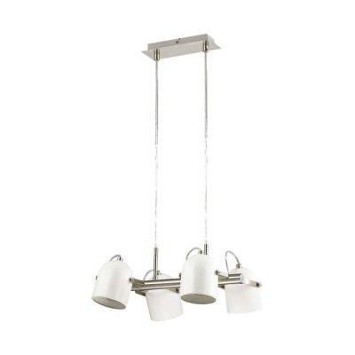 Люстра Lumion 3592/4 ARUDLISПодвесные<br>Светильник серии Arudlis будет идеально смотреться в стильном большом помещении с высокими потолками. Белый цвет каркаса с матовым никелем,  лаконичная форма и минималистичный стиль замечательно подходит в интерьеры в стиле лофт, модерн, минимализм<br><br>S освещ. до, м2: 12<br>Тип лампы: Накаливания / энергосбережения / светодиодная<br>Тип цоколя: E27<br>Количество ламп: 4<br>Ширина, мм: 350<br>Длина цепи/провода, мм: 1050<br>Длина, мм: 360<br>Оттенок (цвет): белый с матовым никелем<br>MAX мощность ламп, Вт: 60