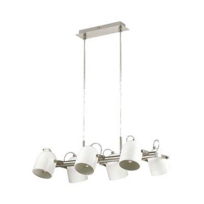 Люстра Lumion 3592/6 ARUDLISПодвесные<br>Светильник серии Arudlis будет идеально смотреться в стильном большом помещении с высокими потолками. Белый цвет каркаса с матовым никелем,  лаконичная форма и минималистичный стиль замечательно подходит в интерьеры в стиле лофт, модерн, минимализм<br><br>S освещ. до, м2: 18<br>Тип лампы: Накаливания / энергосбережения / светодиодная<br>Тип цоколя: E27<br>Количество ламп: 6<br>Ширина, мм: 360<br>Длина цепи/провода, мм: 1050<br>Длина, мм: 550<br>Оттенок (цвет): белый с матовым никелем<br>MAX мощность ламп, Вт: 60