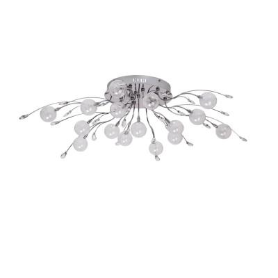 Люстра Mw light 360010316 АмелияПотолочные<br>Описание модели 360010316: Грациозное вьющееся растение напоминает собой люстра из коллекции «Амелия». Она объединяет оригинальный дизайн и высокую техническую оснащенность.  Прозрачные стеклянные плафоны округлой формы крепятся к хромированному металлическому основанию при помощи декоративных металлических ветвей. Хрустальные элементы в виде миниатюрных листьев добавляют люстре сказочного очарования. Она будет прекрасно смотреться в современном интерьере. Светильник имеет достаточно высокие параметры освещения порядка 21 кв.м.<br><br>Установка на натяжной потолок: Да<br>S освещ. до, м2: 21<br>Рекомендуемые колбы ламп: пальчиковая<br>Крепление: Планка<br>Цветовая t, К: 2800-3200 K<br>Тип лампы: галогенная / LED-светодиодная<br>Тип цоколя: G4<br>Количество ламп: 16<br>MAX мощность ламп, Вт: 20<br>Диаметр, мм мм: 1000<br>Высота, мм: 280<br>Поверхность арматуры: глянцевый<br>Цвет арматуры: серебристый<br>Общая мощность, Вт: 320