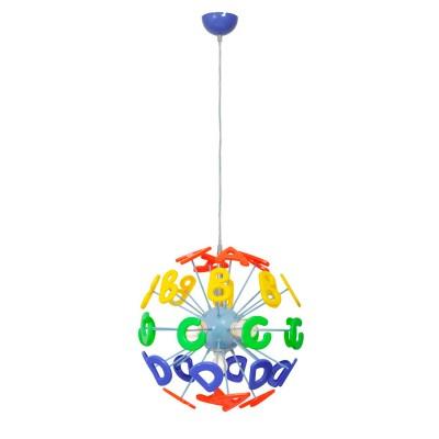 Люстра Mw light 365013505 УлыбкаОдиночные<br>Описание модели 365013505: Эта яркая и необычная люстра из коллекции «Улыбка»  станет отличным дополнением любой детской комнаты. Её радужный, цветной дизайн всегда будет вносить в обстановку ребяческую непосредственность и беззаботность. Основание люстры выполнено из окрашенного металла и удачно сочетается с абажуром в виде красочных разноцветных букв, изготовленных из высококачественного пластика. Такая люстра станет источником не только света, но и позитива! Рекомендуемая площадь освещения порядка 10 кв.м.<br><br>S освещ. до, м2: 10<br>Крепление: Планка<br>Тип лампы: накаливания / энергосбережения / LED-светодиодная<br>Тип цоколя: E14<br>Количество ламп: 5<br>MAX мощность ламп, Вт: 40<br>Диаметр, мм мм: 400<br>Длина цепи/провода, мм: 500<br>Высота, мм: 1050<br>Поверхность арматуры: матовый<br>Цвет арматуры: голубой<br>Общая мощность, Вт: 200