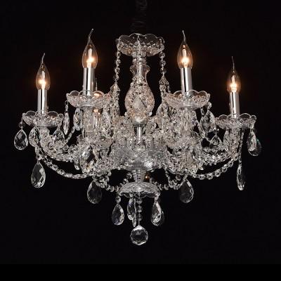 Mw light 367014706 СветильникПодвесные<br><br><br>Установка на натяжной потолок: Да<br>S освещ. до, м2: 12<br>Тип лампы: Накаливания / энергосбережения / светодиодная<br>Тип цоколя: E14<br>Цвет арматуры: серебристый<br>Количество ламп: 6<br>Диаметр, мм мм: 560<br>Высота, мм: 630 - 1200<br>MAX мощность ламп, Вт: 40