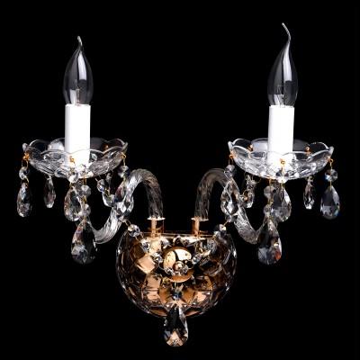 Светильник настенный бра Mw light 367023102 КаролинаХрустальные<br>Бра  из коллекции «Каролина» восхищает своим блеском и великолепием. Основание выполнено из металла цвета французского золота. Изящно изогнутые  рожки светильника декорированы витым стеклом, а чаши и декоративные элементы также выполнены из прозрачного рельефного стекла. Финальный штрих композиции – россыпь хрустальных подвесок.  Рекомендуемая площадь освещения порядка 6 кв.м<br><br>S освещ. до, м2: 6<br>Тип товара: Светильник настенный бра<br>Тип лампы: Накаливания / энергосбережения / светодиодная<br>Тип цоколя: E14<br>Количество ламп: 2<br>Ширина, мм: 250<br>MAX мощность ламп, Вт: 60<br>Длина, мм: 360<br>Высота, мм: 240<br>Цвет арматуры: золотой<br>Общая мощность, Вт: 120