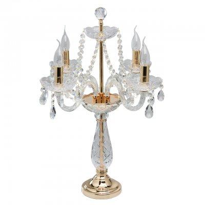 настольная лампа Mw light 367036204 КаролинаОжидается<br>Роскошный светильник из коллекции «Каролина» притягивает взгляды: в нем гармонично сочетаются современные и классические мотивы. Металлическое основание выполнено в двух цветовых вариациях: цвета хрома и золота. Грациозные свечи, плавно изогнутые рожки и ажурные чаши-подсвечники с рельефным рисунком. Декор в виде хрустальных подвесов придает композиции особую изящность и легкость, подчеркивая нетривиальный дизайн модели.<br><br>Тип цоколя: E14<br>Количество ламп: 4<br>Диаметр, мм мм: 400<br>Высота, мм: 630<br>MAX мощность ламп, Вт: 40W