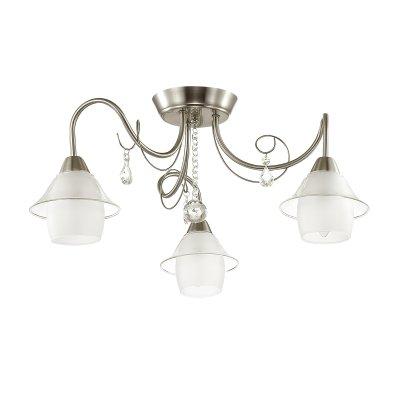 Люстра потолочная Lumion 3685/3C BRITTANYОжидается<br><br><br>Тип цоколя: E14<br>Цвет арматуры: никель/стекло<br>Количество ламп: 3<br>Поверхность арматуры: матовый<br>MAX мощность ламп, Вт: 40