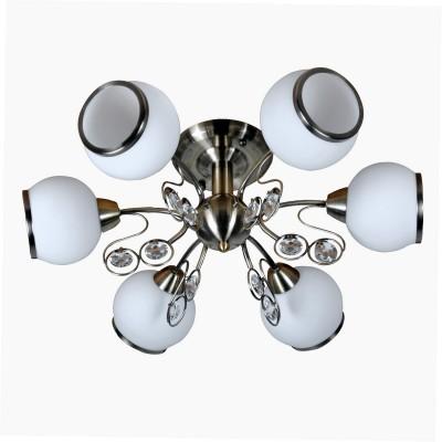 Люстра Lamplandia 3690-6 NinaПотолочные<br>Современная люстра с основанием из металла антично бронзового цвета .Плафоны  выполнены из  декоративного матового  стекла<br><br>Установка на натяжной потолок: Ограничено<br>S освещ. до, м2: 24<br>Крепление: Планка<br>Тип лампы: накаливания / энергосбережения / LED-светодиодная<br>Тип цоколя: E14<br>Количество ламп: 6<br>Ширина, мм: 440<br>MAX мощность ламп, Вт: 40<br>Длина, мм: 540<br>Высота, мм: 230<br>Цвет арматуры: бронзовый