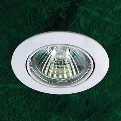 Точечный светильник 369100 Novotech белый CrownКруглые<br>Светильники поворотные для низковольтных галогенных ламп. Материал: алюминиевое литье. Напряжение: - 12V или 220V. IP 20<br><br>S освещ. до, м2: 3<br>Тип товара: Точечный встраиваемый светильник<br>Тип лампы: галогенная<br>Тип цоколя: GU5.3 (MR16)<br>Количество ламп: 1<br>MAX мощность ламп, Вт: 50<br>Диаметр, мм мм: 82<br>Диаметр врезного отверстия, мм: 75<br>Высота, мм: 27<br>Цвет арматуры: белый