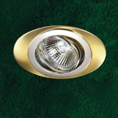 Novotech IRIS 369198 Точечный встраиваемый светильникОвальные<br>Светильники поворотные для низковольтных галогенных ламп. Лампы в комплект не входят. Материал: алюминиевое литье. Напряжение: - 12V или 220V. IP 20<br><br>S освещ. до, м2: 3<br>Тип лампы: галогенная<br>Тип цоколя: GU5.3 (MR16)<br>Количество ламп: 1<br>MAX мощность ламп, Вт: 50<br>Диаметр, мм мм: 80<br>Диаметр врезного отверстия, мм: 76<br>Высота, мм: 27<br>Оттенок (цвет): серебристый<br>Цвет арматуры: Золотой