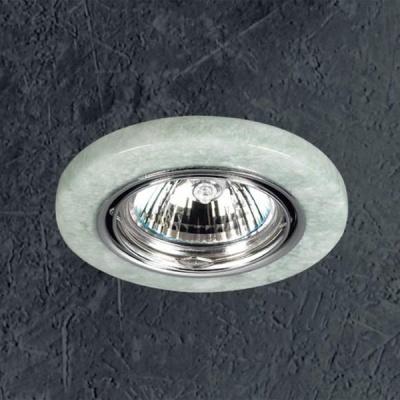 Novotech STONE 369283 Точечный встраиваемый светильникТочечные светильники круглые<br>Декоративный встраиваемый поворотный светильник модели Novotech 369283 из серии STONE отличается следующим качеством: Основание светильника – алюминиевое литьё. Это сплав, основными  достоинствами которого являются — устойчивость к практически всем видам негативного воздействия окружающей среды, коррозии, небольшой вес, по сравнению с другими видами металла и   экологическая безопасность материала. Декоративный плафон сделан из искусственного камня.  Этот материал отличается, без преувеличения, уникальными эксплуатационными качествами. Он прочный и долговечный, влагоустойчивый, гигиеничный (на гладкой поверхности бактерии не приживаются), термостойкий,  экологичный и лёгкий. А так же тёплый на ощупь.<br><br>S освещ. до, м2: 3<br>Тип лампы: галогенная<br>Тип цоколя: GU5.3 (MR16)<br>Цвет арматуры: серебристый<br>Количество ламп: 1<br>Диаметр, мм мм: 88<br>Диаметр врезного отверстия, мм: 68<br>Высота, мм: 30<br>Оттенок (цвет): зеленый<br>MAX мощность ламп, Вт: 50