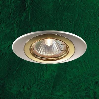 Novotech IRIS 369301 Точечный встраиваемый светильникОвальные<br>Встраиваемый поворотный светильник модели Novotech 369301 из серии IRIS отличается следующим качеством: Светильник сделан из алюминиевого литья. Это сплав, основными  достоинствами которого являются — устойчивость к практически всем видам негативного воздействия окружающей среды, коррозии, небольшой вес, по сравнению с другими видами металла и экологическая безопасность материала.<br><br>S освещ. до, м2: 3<br>Тип товара: Точечный встраиваемый светильник<br>Тип лампы: галогенная<br>Тип цоколя: GU5.3 (MR16)<br>Количество ламп: 1<br>MAX мощность ламп, Вт: 50<br>Диаметр, мм мм: 80<br>Диаметр врезного отверстия, мм: 76<br>Высота, мм: 27<br>Оттенок (цвет): золото<br>Цвет арматуры: серебристый