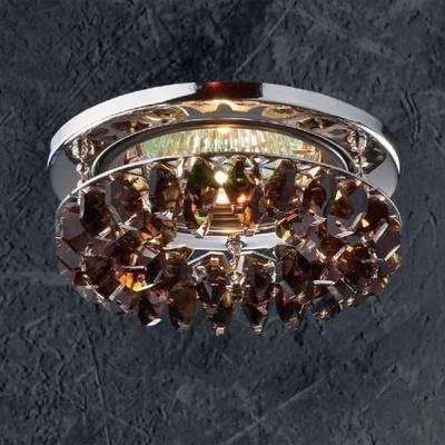Novotech FLAME1 369313 Встраиваемый светильникХрустальные<br>Светильники для низковольтных галогенных ламп. Материал: алюминиевое литье. Хрусталь.<br><br>S освещ. до, м2: 3<br>Тип лампы: галогенная<br>Тип цоколя: GU5.3 (MR16)<br>Количество ламп: 1<br>MAX мощность ламп, Вт: 50<br>Диаметр, мм мм: 91<br>Диаметр врезного отверстия, мм: 68<br>Высота, мм: 46<br>Оттенок (цвет): под дерево<br>Цвет арматуры: серебристый