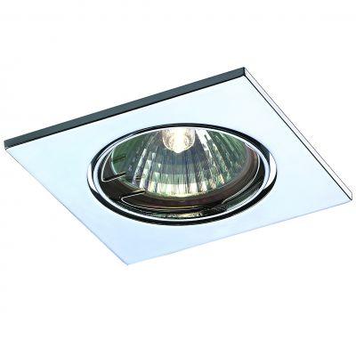 Novotech QUADRO 369347 Точечный встраиваемый светильникКвадратные<br>Встраиваемый поворотный светильник модели Novotech 369347 из серии QUADRO отличается следующим качеством: Светильник сделан из алюминиевого литья. Это сплав, основными  достоинствами которого являются — устойчивость к практически всем видам негативного воздействия окружающей среды, коррозии, небольшой вес, по сравнению с другими видами металла и экологическая безопасность материала.<br><br>S освещ. до, м2: 2<br>Тип лампы: галогенная<br>Тип цоколя: GU5.3 (MR16)<br>Ширина, мм: 82<br>MAX мощность ламп, Вт: 50<br>Диаметр врезного отверстия, мм: 75<br>Длина, мм: 82<br>Расстояние от стены, мм: 2<br>Высота, мм: 27<br>Цвет арматуры: серебристый