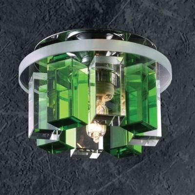 Светильник Novotech 369357 хром CrystalsКруглые<br><br><br>S освещ. до, м2: 2<br>Тип товара: Встраиваемый светильник<br>Тип лампы: галогенная<br>Тип цоколя: G9<br>Количество ламп: 1<br>MAX мощность ламп, Вт: 40<br>Диаметр, мм мм: 105<br>Диаметр врезного отверстия, мм: 50<br>Высота, мм: 70<br>Оттенок (цвет): прозрачно-зелёный<br>Цвет арматуры: серебристый