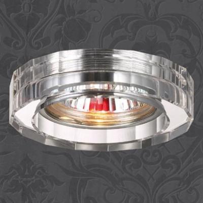 Novotech GLASS 369487 Встраиваемый светильникКруглые<br>Декоративный встраиваемый светильник модели Novotech 369487 из серии GLASS отличается следующим качеством: Основание светильника - алюминиевое литьё. Это сплав, основными  достоинствами которого являются — устойчивость к практически всем видам негативного воздействия окружающей среды, коррозии, небольшой вес, по сравнению с другими видами металла и   экологическая безопасность материала. Декоративный плафон произведен из хрусталя. Он обладает высоким показателем плотности, прозрачности и блеска. Благодаря содержанию свинца (не менее 30%) и определённому подбору углов, образуемых гранями, изделия из хрусталя отличаются необыкновенно яркой, многоцветной игрой света, чарующей магией красоты, совершенства и роскоши.<br><br>S освещ. до, м2: 2<br>Тип лампы: галогенная<br>Тип цоколя: GU5.3 (MR16)<br>MAX мощность ламп, Вт: 50<br>Диаметр, мм мм: 80<br>Диаметр врезного отверстия, мм: 65<br>Высота, мм: 35<br>Цвет арматуры: серебристый