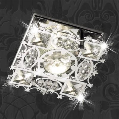 Novotech AURORA 369500 Встраиваемый светильникХрустальные<br>Декоративный встраиваемый неповоротный светильник модели Novotech 369500 из серии AURORA отличается следующим качеством: Светильник сделан из металла. Это популярный и востребованный материал благодаря ряду качеств. К ним относится: повышенная прочность, износостойкость и долговечность.  Декоративные бусины произведены из хрусталя.  Хрусталь обладает высоким показателем плотности, прозрачности и блеска. Благодаря содержанию свинца (не менее 30%) и определённому подбору углов, образуемых гранями, изделия из хрусталя отличаются необыкновенно яркой, многоцветной игрой света, чарующей магией красоты, совершенства и роскоши.<br><br>S освещ. до, м2: 3<br>Тип лампы: галогенная<br>Тип цоколя: GU5.3 (MR16)<br>Количество ламп: 1<br>MAX мощность ламп, Вт: 50<br>Диаметр, мм мм: 95<br>Диаметр врезного отверстия, мм: 60<br>Высота, мм: 65<br>Оттенок (цвет): прозрачный<br>Цвет арматуры: серебристый