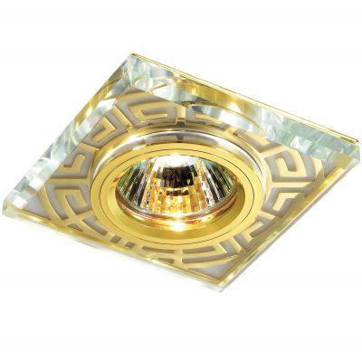 Novotech MAZE 369585 Встраиваемый светильникКвадратные<br>Декоративный встраиваемый светильник модели Novotech 369585 из серии MAZE отличается следующим качеством: Основание светильника сделано из алюминия. Это лёгкий металл, основными  достоинствами которого являются — устойчивость к практически всем видам негативного воздействия окружающей среды, коррозии, небольшой вес, по сравнению с другими видами металла и   экологическая безопасность материала. Декоративный плафон произведен из хрусталя. Он обладает высоким показателем плотности, прозрачности и блеска. Благодаря содержанию свинца (не менее 30%) и определённому подбору углов, образуемых гранями, изделия из хрусталя отличаются необыкновенно яркой, многоцветной игрой света, чарующей магией красоты, совершенства и роскоши.<br><br>S освещ. до, м2: 2<br>Тип лампы: галогенная<br>Тип цоколя: GU5.3 (MR16)<br>MAX мощность ламп, Вт: 50<br>Диаметр, мм мм: 90<br>Диаметр врезного отверстия, мм: 68<br>Расстояние от стены, мм: 10<br>Высота, мм: 20<br>Цвет арматуры: Золотой