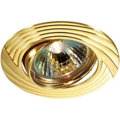 Novotech TREK 369613 Точечный встраиваемый светильникКруглые<br>Встраиваемый поворотный светильник модели Novotech 369613 из серии TREK отличается следующим качеством: Светильник сделан из алюминиевого литья. Это сплав, основными  достоинствами которого являются — устойчивость к практически всем видам негативного воздействия окружающей среды, коррозии, небольшой вес, по сравнению с другими видами металла и   экологическая безопасность материала.<br><br>S освещ. до, м2: 2<br>Тип лампы: галогенная<br>Тип цоколя: GU5.3 (MR16)<br>MAX мощность ламп, Вт: 50<br>Диаметр, мм мм: 90<br>Диаметр врезного отверстия, мм: 82<br>Расстояние от стены, мм: 5<br>Высота, мм: 25<br>Цвет арматуры: Золотой