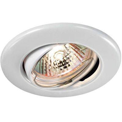 Novotech CLASSIC 369696 Точечный встраиваемый светильникКруглые<br>Встраиваемый поворотный светильник модели Novotech 369696 из серии CLASSIC отличается следующим качеством: Светильник сделан из металла. Это популярный и востребованный материал благодаря ряду качеств. К ним относится: повышенная прочность, износостойкость и долговечность. Любому интерьеру он придаст солидности и завершенности, поможет расставить акценты.<br><br>S освещ. до, м2: 2<br>Тип лампы: галогенная<br>Тип цоколя: GU5.3 (MR16)<br>MAX мощность ламп, Вт: 50<br>Диаметр, мм мм: 90<br>Диаметр врезного отверстия, мм: 70<br>Расстояние от стены, мм: 5<br>Высота, мм: 25<br>Цвет арматуры: белый