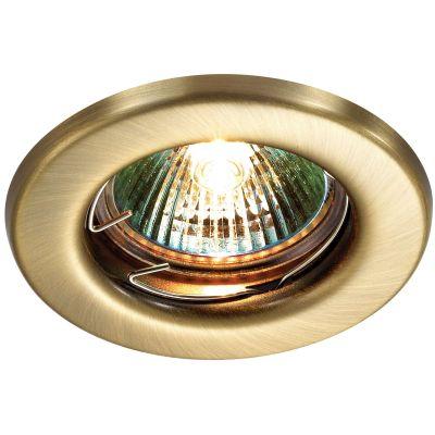 Novotech CLASSIC 369700 Точечный встраиваемый светильникКруглые<br>Встраиваемый неповоротный светильник модели Novotech 369700 из серии CLASSIC отличается следующим качеством: Светильник сделан из металла. Это популярный и востребованный материал благодаря ряду качеств. К ним относится: повышенная прочность, износостойкость и долговечность. Любому интерьеру он придадаст солидности и завершенности, поможет расставить акценты.<br><br>S освещ. до, м2: 2<br>Тип лампы: галогенная<br>Тип цоколя: GU5.3 (MR16)<br>MAX мощность ламп, Вт: 50<br>Диаметр, мм мм: 82<br>Диаметр врезного отверстия, мм: 60<br>Расстояние от стены, мм: 5<br>Высота, мм: 35<br>Цвет арматуры: бронзовый