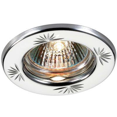 Novotech CLASSIC 369706 Точечный встраиваемый светильникКруглые<br>Встраиваемый неповоротный светильник модели Novotech 369706 из серии CLASSIC отличается следующим качеством: Светильник сделан из металла. Это популярный и востребованный материал благодаря ряду качеств. К ним относится: повышенная прочность, износостойкость и долговечность. Любому интерьеру он придадаст солидности и завершенности, поможет расставить акценты.<br><br>S освещ. до, м2: 2<br>Тип лампы: галогенная<br>Тип цоколя: GU5.3 (MR16)<br>MAX мощность ламп, Вт: 50<br>Диаметр, мм мм: 82<br>Диаметр врезного отверстия, мм: 60<br>Расстояние от стены, мм: 5<br>Высота, мм: 35<br>Цвет арматуры: серебристый