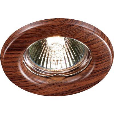 Novotech WOOD 369714 Встраиваемый светильникПод дерево<br>Встраиваемый неповоротный светильник модели Novotech 369714 из серии WOOD отличается следующим качеством: Светильник сделан из металла. Это популярный и востребованный материал благодаря ряду качеств. К ним относится: повышенная прочность, износостойкость и долговечность. Любому интерьеру он придадаст солидности и завершенности, поможет расставить акценты.<br><br>S освещ. до, м2: 2<br>Тип товара: Встраиваемый светильник<br>Тип лампы: галогенная<br>Тип цоколя: GU5.3 (MR16)<br>MAX мощность ламп, Вт: 50<br>Диаметр, мм мм: 82<br>Диаметр врезного отверстия, мм: 60<br>Расстояние от стены, мм: 5<br>Высота, мм: 35<br>Цвет арматуры: деревянный