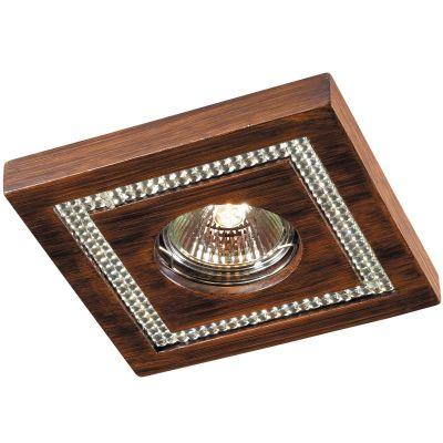 Novotech FABLE 369734 Встраиваемый светильникКвадратные<br>Декоративный встраиваемый светильник модели Novotech 369734 из серии FABLE отличается следующим качеством: Светильник сделан из искусственного камня. Этот материал отличается, без преувеличения, уникальными эксплуатационными качествами. Он прочный и долговечный, влагоустойчивый, гигиеничный (на гладкой поверхности бактерии не приживаются), термостойкий,  экологичный и лёгкий. А так же тёплый на ощупь. Декоративное украшение произведено из хрусталя. Он обладает высоким показателем плотности, прозрачности и блеска. Благодаря содержанию свинца (не менее 30%) и определённому подбору углов, образуемых гранями, изделия из хрусталя отличаются необыкновенно яркой, многоцветной игрой света, чарующей магией красоты, совершенства и роскоши.<br><br>S освещ. до, м2: 2<br>Тип лампы: галогенная<br>Тип цоколя: GU5.3 (MR16)<br>Ширина, мм: 130<br>MAX мощность ламп, Вт: 50<br>Диаметр врезного отверстия, мм: 70<br>Длина, мм: 130<br>Расстояние от стены, мм: 20<br>Высота, мм: 35<br>Цвет арматуры: деревянный