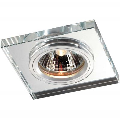 Novotech MIRROR 369753 Встраиваемый светильникКвадратные<br>Декоративный встраиваемый светильник модели Novotech 369753 из серии MIRROR отличается следующим качеством: Основание светильника сделано из алюминия. Это лёгкий металл, основными  достоинствами которого являются — устойчивость к практически всем видам негативного воздействия окружающей среды, коррозии, небольшой вес, по сравнению с другими видами металла и   экологическая безопасность материала. Декоративный плафон произведен из хрусталя. Он обладает высоким показателем плотности, прозрачности и блеска. Благодаря содержанию свинца (не менее 30%) и определённому подбору углов, образуемых гранями, изделия из хрусталя отличаются необыкновенно яркой, многоцветной игрой света, чарующей магией красоты, совершенства и роскоши.<br><br>S освещ. до, м2: 2<br>Тип лампы: галогенная<br>Тип цоколя: GU5.3 (MR16)<br>MAX мощность ламп, Вт: 50<br>Диаметр, мм мм: 85<br>Диаметр врезного отверстия, мм: 68<br>Расстояние от стены, мм: 10<br>Высота, мм: 25<br>Оттенок (цвет): зеркальный<br>Цвет арматуры: серебристый