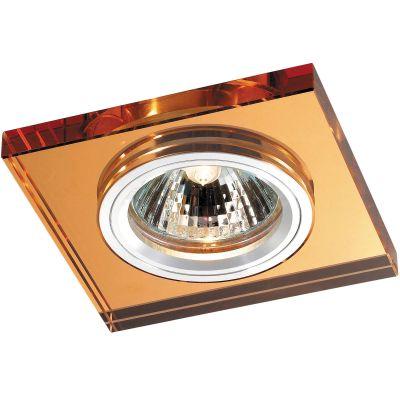 Novotech MIRROR 369754 Встраиваемый светильникКвадратные<br>Декоративный встраиваемый светильник модели Novotech 369754 из серии MIRROR отличается следующим качеством: Основание светильника сделано из алюминия. Это лёгкий металл, основными  достоинствами которого являются — устойчивость к практически всем видам негативного воздействия окружающей среды, коррозии, небольшой вес, по сравнению с другими видами металла и   экологическая безопасность материала. Декоративный плафон произведен из хрусталя. Он обладает высоким показателем плотности, прозрачности и блеска. Благодаря содержанию свинца (не менее 30%) и определённому подбору углов, образуемых гранями, изделия из хрусталя отличаются необыкновенно яркой, многоцветной игрой света, чарующей магией красоты, совершенства и роскоши.<br><br>S освещ. до, м2: 2<br>Тип лампы: галогенная<br>Тип цоколя: GU5.3 (MR16)<br>MAX мощность ламп, Вт: 50<br>Диаметр, мм мм: 85<br>Диаметр врезного отверстия, мм: 68<br>Расстояние от стены, мм: 10<br>Высота, мм: 25<br>Оттенок (цвет): янтарный<br>Цвет арматуры: серебристый