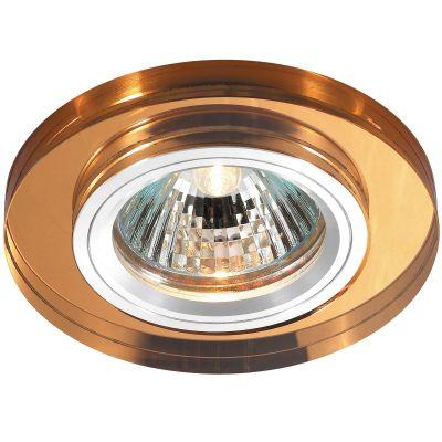 Novotech MIRROR 369757 Встраиваемый светильникКруглые<br>Декоративный встраиваемый светильник модели Novotech 369757 из серии MIRROR отличается следующим качеством: Основание светильника сделано из алюминия. Это лёгкий металл, основными  достоинствами которого являются — устойчивость к практически всем видам негативного воздействия окружающей среды, коррозии, небольшой вес, по сравнению с другими видами металла и   экологическая безопасность материала. Декоративный плафон произведен из хрусталя. Он обладает высоким показателем плотности, прозрачности и блеска. Благодаря содержанию свинца (не менее 30%) и определённому подбору углов, образуемых гранями, изделия из хрусталя отличаются необыкновенно яркой, многоцветной игрой света, чарующей магией красоты, совершенства и роскоши.<br><br>S освещ. до, м2: 2<br>Тип лампы: галогенная<br>Тип цоколя: GU5.3 (MR16)<br>MAX мощность ламп, Вт: 50<br>Диаметр, мм мм: 85<br>Диаметр врезного отверстия, мм: 68<br>Расстояние от стены, мм: 10<br>Высота, мм: 25<br>Оттенок (цвет): янтарный<br>Цвет арматуры: серебристый