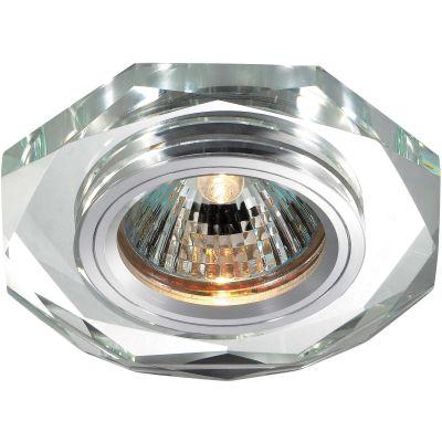 Novotech MIRROR 369759 Встраиваемый светильникКруглые<br>Декоративный встраиваемый светильник модели Novotech 369759 из серии MIRROR отличается следующим качеством: Основание светильника сделано из алюминия. Это лёгкий металл, основными  достоинствами которого являются — устойчивость к практически всем видам негативного воздействия окружающей среды, коррозии, небольшой вес, по сравнению с другими видами металла и   экологическая безопасность материала. Декоративный плафон произведен из хрусталя. Он обладает высоким показателем плотности, прозрачности и блеска. Благодаря содержанию свинца (не менее 30%) и определённому подбору углов, образуемых гранями, изделия из хрусталя отличаются необыкновенно яркой, многоцветной игрой света, чарующей магией красоты, совершенства и роскоши.<br><br>S освещ. до, м2: 2<br>Тип лампы: галогенная<br>Тип цоколя: GU5.3 (MR16)<br>MAX мощность ламп, Вт: 50<br>Диаметр, мм мм: 90<br>Диаметр врезного отверстия, мм: 68<br>Расстояние от стены, мм: 10<br>Высота, мм: 25<br>Оттенок (цвет): зеркальный<br>Цвет арматуры: серебристый