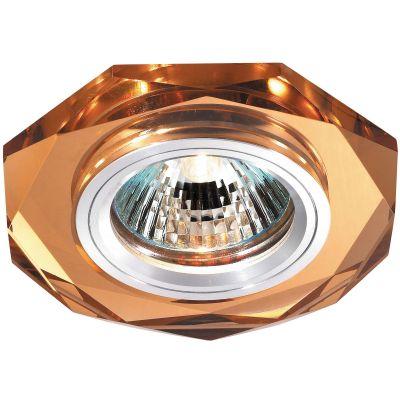 Novotech MIRROR 369760 Встраиваемый светильникКруглые<br>Декоративный встраиваемый светильник модели Novotech 369760 из серии MIRROR отличается следующим качеством: Основание светильника сделано из алюминия. Это лёгкий металл, основными  достоинствами которого являются — устойчивость к практически всем видам негативного воздействия окружающей среды, коррозии, небольшой вес, по сравнению с другими видами металла и   экологическая безопасность материала. Декоративный плафон произведен из хрусталя. Он обладает высоким показателем плотности, прозрачности и блеска. Благодаря содержанию свинца (не менее 30%) и определённому подбору углов, образуемых гранями, изделия из хрусталя отличаются необыкновенно яркой, многоцветной игрой света, чарующей магией красоты, совершенства и роскоши.<br><br>S освещ. до, м2: 2<br>Тип лампы: галогенная<br>Тип цоколя: GU5.3 (MR16)<br>Цвет арматуры: серебристый<br>Диаметр, мм мм: 90<br>Диаметр врезного отверстия, мм: 68<br>Расстояние от стены, мм: 10<br>Высота, мм: 25<br>Оттенок (цвет): янтарный<br>MAX мощность ламп, Вт: 50