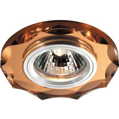 Novotech MIRROR 369763 Встраиваемый светильникКруглые<br>Декоративный встраиваемый светильник модели Novotech 369763 из серии MIRROR отличается следующим качеством: Основание светильника сделано из алюминия. Это лёгкий металл, основными  достоинствами которого являются — устойчивость к практически всем видам негативного воздействия окружающей среды, коррозии, небольшой вес, по сравнению с другими видами металла и   экологическая безопасность материала. Декоративный плафон произведен из хрусталя. Он обладает высоким показателем плотности, прозрачности и блеска. Благодаря содержанию свинца (не менее 30%) и определённому подбору углов, образуемых гранями, изделия из хрусталя отличаются необыкновенно яркой, многоцветной игрой света, чарующей магией красоты, совершенства и роскоши.<br><br>S освещ. до, м2: 2<br>Тип лампы: галогенная<br>Тип цоколя: GU5.3 (MR16)<br>MAX мощность ламп, Вт: 50<br>Диаметр, мм мм: 95<br>Диаметр врезного отверстия, мм: 68<br>Расстояние от стены, мм: 10<br>Высота, мм: 25<br>Оттенок (цвет): янтарный<br>Цвет арматуры: серебристый