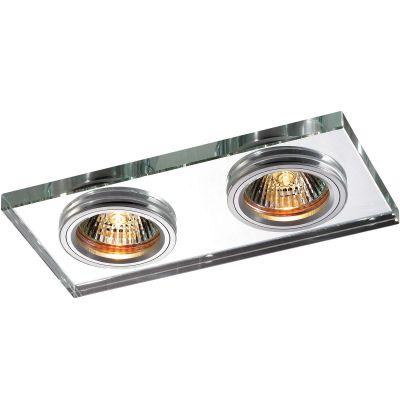 Novotech MIRROR 369765 Встраиваемый светильникКарданные<br>Декоративный встраиваемый светильник модели Novotech 369765 из серии MIRROR отличается следующим качеством: Основание светильника сделано из алюминия. Это лёгкий металл, основными  достоинствами которого являются — устойчивость к практически всем видам негативного воздействия окружающей среды, коррозии, небольшой вес, по сравнению с другими видами металла и   экологическая безопасность материала. Декоративный плафон произведен из хрусталя. Он обладает высоким показателем плотности, прозрачности и блеска. Благодаря содержанию свинца (не менее 30%) и определённому подбору углов, образуемых гранями, изделия из хрусталя отличаются необыкновенно яркой, многоцветной игрой света, чарующей магией красоты, совершенства и роскоши.<br><br>Тип лампы: галогенная<br>Тип цоколя: GX5.3<br>Ширина, мм: 90<br>MAX мощность ламп, Вт: 50W<br>Диаметр врезного отверстия, мм: 155*70<br>Длина, мм: 180<br>Расстояние от стены, мм: 5<br>Высота, мм: 25<br>Оттенок (цвет): зеркальный<br>Цвет арматуры: алюминий