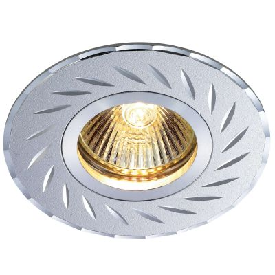 Novotech VOODOO 369771 Точечный встраиваемый светильникКруглые<br>Встраиваемый светильник модели Novotech 369771 из серии VOODOO отличается следующим качеством: Светильник произведен из алюминия. Это лёгкий металл, основными  достоинствами которого являются — устойчивость к практически всем видам негативного воздействия окружающей среды, коррозии, небольшой вес, по сравнению с другими видами металла и   экологическая безопасность материала.<br><br>S освещ. до, м2: 2<br>Тип лампы: галогенная<br>Тип цоколя: GU5.3 (MR16)<br>MAX мощность ламп, Вт: 50<br>Диаметр, мм мм: 95<br>Диаметр врезного отверстия, мм: 65<br>Расстояние от стены, мм: 2<br>Высота, мм: 20<br>Цвет арматуры: серебристый