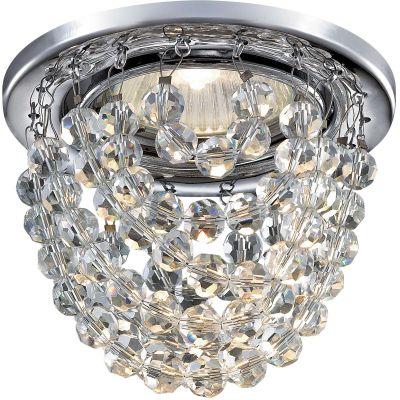 Novotech JINNI 369778 Встраиваемый светильникХрустальные<br>Декоративный встраиваемый светильник модели Novotech 369778 из серии JINNI отличается следующим качеством: Основание светильника сделано из металла. Это популярный и востребованный материал благодаря ряду качеств. К ним относится: повышенная прочность, износостойкость и долговечность. Подвески изготовлены из хрусталя.  Он обладает высоким показателем плотности, прозрачности и блеска. Благодаря содержанию свинца (не менее 30%) и определённому подбору углов, образуемых гранями, изделия из хрусталя отличаются необыкновенно яркой, многоцветной игрой света, чарующей магией красоты, совершенства и роскоши.  А так же, он обладают красивым звоном.<br><br>S освещ. до, м2: 2<br>Тип лампы: галогенная<br>Тип цоколя: GU5.3 (MR16)<br>MAX мощность ламп, Вт: 50<br>Диаметр, мм мм: 90<br>Диаметр врезного отверстия, мм: 70<br>Расстояние от стены, мм: 59<br>Высота, мм: 83<br>Цвет арматуры: серебристый