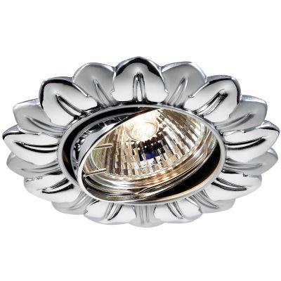 Novotech FLOWER 369821 Точечный встраиваемый светильникКруглые<br>Стандартный встраиваемый поворотный светильник модели Novotech 369821 из серии FLOWER отличается следующим качеством: Светильник сделан из алюминиевого литья. Это сплав, основными  достоинствами которого являются — устойчивость к практически всем видам негативного воздействия окружающей среды, коррозии, небольшой вес, по сравнению с другими видами металла и   экологическая безопасность материала.   Простота монтажа. Экономичность.  Надёжность. Большой срок службы. Возможность реализации оригинальных дизайнерских решений за счет гибкости и небольшой толщины. Срок службы светодиодов - 25000 часов. !!!Предупреждение: Ленту запрещается резать, чтобы не нарушать герметичность конструкции. В комплект не входит элемент питания.<br><br>S освещ. до, м2: 2<br>Тип лампы: галогенная<br>Тип цоколя: GU5.3 (MR16)<br>Цвет арматуры: серебристый<br>Диаметр, мм мм: 102<br>Диаметр врезного отверстия, мм: 80<br>Расстояние от стены, мм: 2<br>Высота, мм: 57<br>Оттенок (цвет): серебристый<br>MAX мощность ламп, Вт: 50