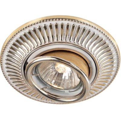 Novotech VINTAGE 369859 Точечный встраиваемый светильникДекоративные<br>Декоративный встраиваемый светильник модели Novotech 369859 из серии VINTAGE отличаетс следущим качеством: Светильник произведен из сплава цинка. Благодар сравнительно высоким механическим и литейным качествам, издели, выполненные из сплава цинка, отличатс высокой точность деталей декора со сложной конфигурацией. Так же он обладает антикоррозийными свойствами.<br><br>Тип лампы: галогенна<br>Тип цокол: GU5.3 (MR16)<br>MAX мощность ламп, Вт: 50<br>Диаметр, мм мм: 119<br>Диаметр врезного отверсти, мм: 100
