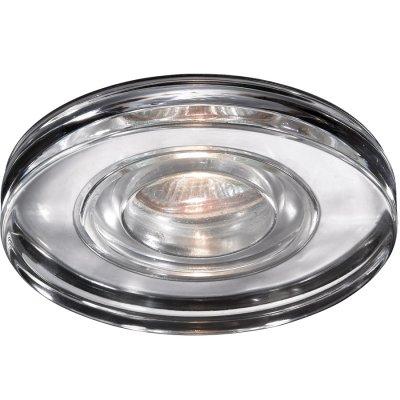 Novotech AQUA 369883 Встраиваемый светильникВ ванную<br>Встраиваемый светильник модели Novotech 369883 из серии AQUA отличается следующим качеством: Влагозащищённый светильник. Корпус светильника – алюминиевое литьё. Это сплав, основными  достоинствами которого являются — устойчивость к практически всем видам негативного воздействия окружающей среды, коррозии, небольшой вес, по сравнению с другими видами металла и   экологическая безопасность материала.  Декоративный  плафон произведен из стекла. Стекло экологично,  не тускнеет и не меняет своего оттенка со временем, не покрывается некрасивым налетом и легко выдерживает перепады температур.<br><br>S освещ. до, м2: 3<br>Тип лампы: галогенная<br>Тип цоколя: GU5.3 (MR16)<br>Количество ламп: 1<br>MAX мощность ламп, Вт: 50<br>Диаметр, мм мм: 110<br>Диаметр врезного отверстия, мм: 60